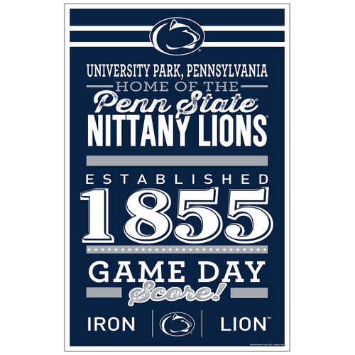 Penn State Nittany Lions Sign 11x17 Wood Established Design