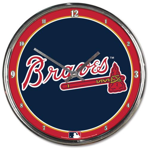 Atlanta Braves Clock Round Wall Style Chrome