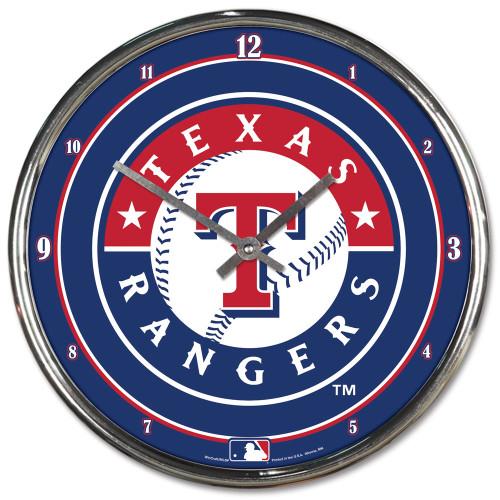 Texas Rangers Clock Round Wall Style Chrome