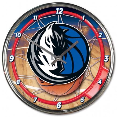 Dallas Mavericks Clock Round Wall Style Chrome
