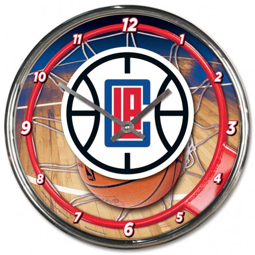 Los Angeles Clippers Clock Round Wall Style Chrome