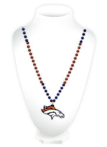 Denver Broncos Beads with Medallion Mardi Gras Style