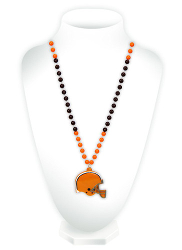 Cleveland Browns Beads with Medallion Mardi Gras Style