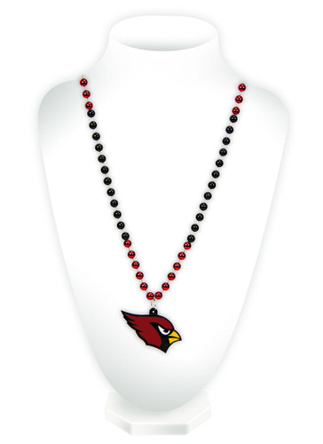 Arizona Cardinals Beads with Medallion Mardi Gras Style