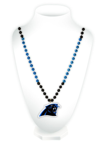 Carolina Panthers Mardi Gras Beads with Medallion
