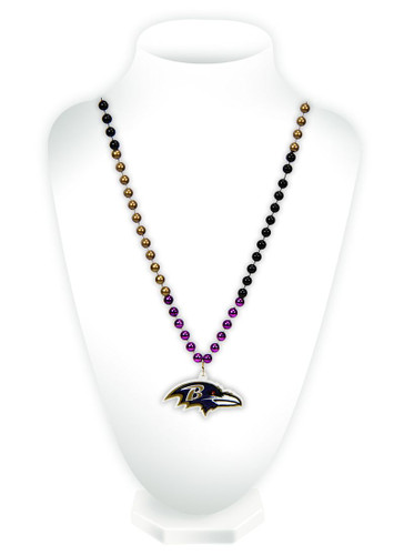 Baltimore Ravens Beads with Medallion Mardi Gras Style
