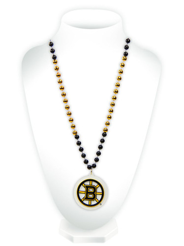 Boston Bruins Beads with Medallion Mardi Gras Style