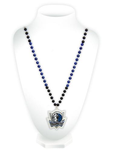 Dallas Mavericks Mardi Gras Beads with Medallion