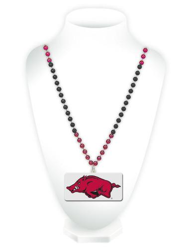 Arkansas Razorbacks Beads with Medallion Mardi Gras Style