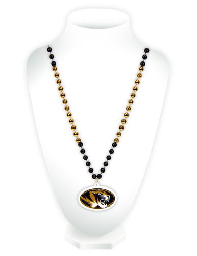 Missouri Tigers Mardi Gras Beads with Medallion