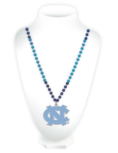 North Carolina Tar Heels Mardi Gras Beads with Medallion