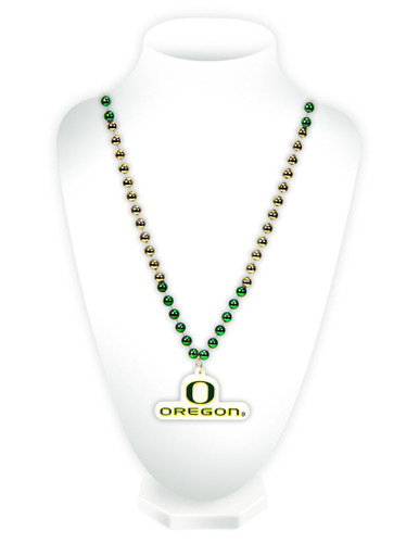 Oregon Ducks Mardi Gras Beads with Medallion