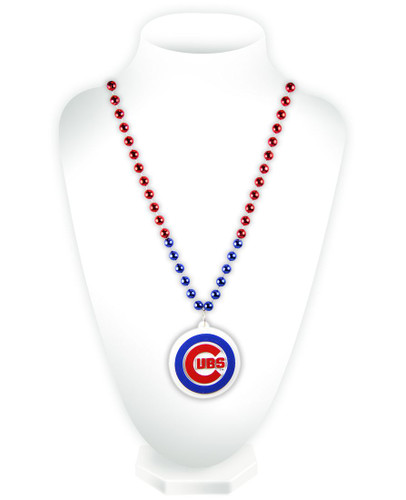 Chicago Cubs Mardi Gras Beads with Medallion