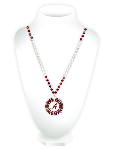 Alabama Crimson Tide Beads with Medallion Mardi Gras Style