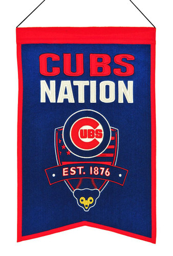 Chicago Cubs Banner 14x22 Wool Nations