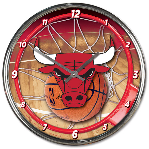 Chicago Bulls Clock Round Wall Style Chrome