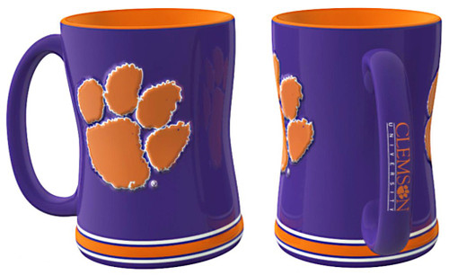 Clemson Tigers Coffee Mug - 14oz Sculpted Relief