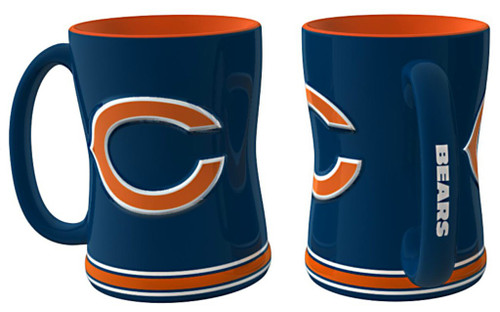 Chicago Bears Coffee Mug - 14oz Sculpted Relief - Blue