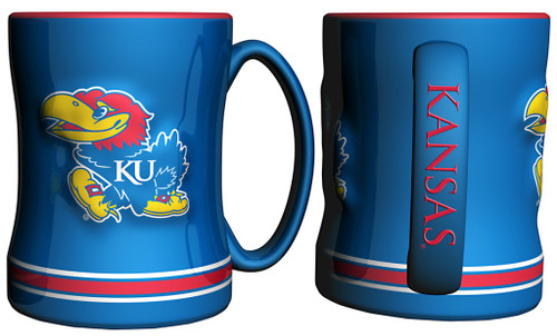 Kansas Jayhawks Coffee Mug - 14oz Sculpted Relief