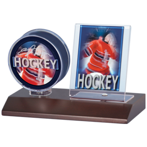 Wood Hockey Puck & Card Holder - Dark Wood