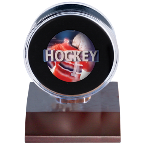 Wood Hockey Puck Holder - Dark Wood