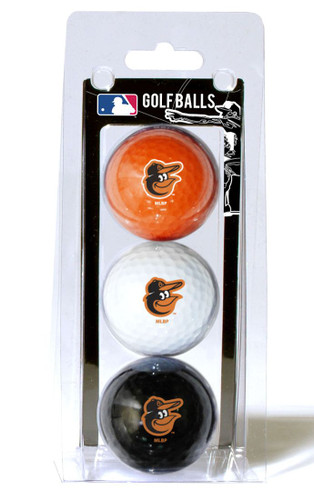 Baltimore Orioles 3 Pack of Golf Balls