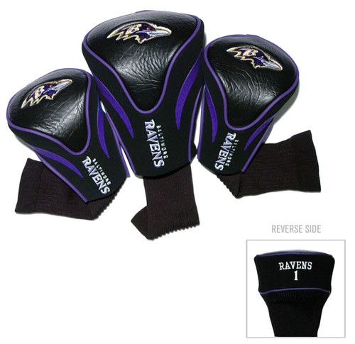 Baltimore Ravens Golf Club 3 Piece Contour Headcover Set