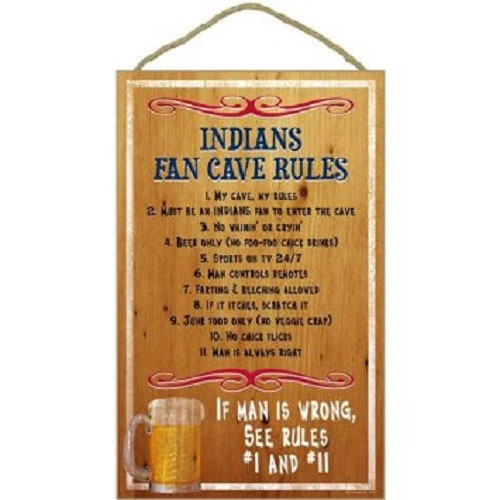 Cleveland Indians Fan Cave Rules Wood Sign