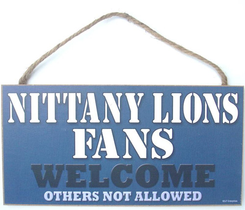"Penn State Nittany Lions Fans Wood Sign - 5""x10"" Welcome"