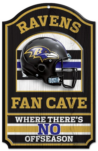 "Baltimore Ravens Wood Sign - 11""x17"" Fan Cave Design"