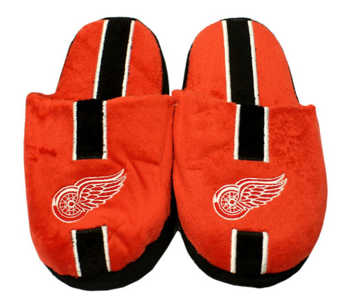 Detroit Red Wings Slippers - Youth 8-16 Stripe