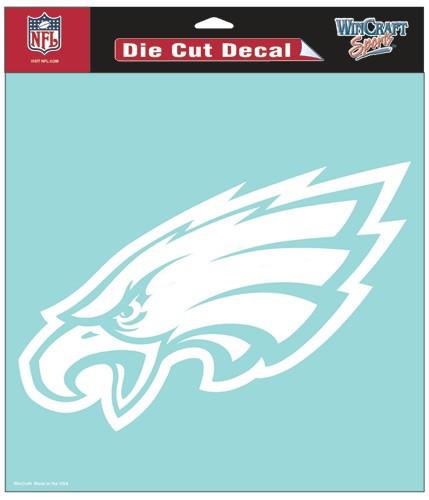 Philadelphia Eagles Decal 8x8 Die Cut White