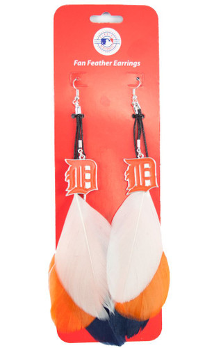Detroit Tigers Team Color Feather Earrings