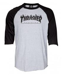 Thrasher Raglan T Shirt Flame Logo