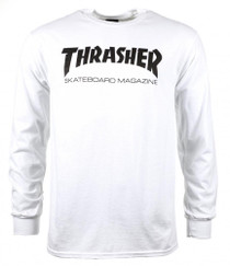 Thrasher Long Sleeve T Shirt Skate Mag Logo- White