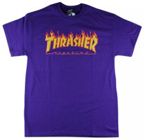 Thrasher T Shirt Flame Logo - Purple