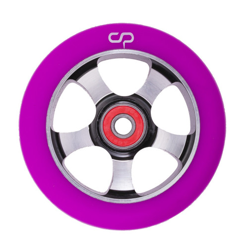 Crisp 5 Spoke Wheel - 100mm - Purple on Black
