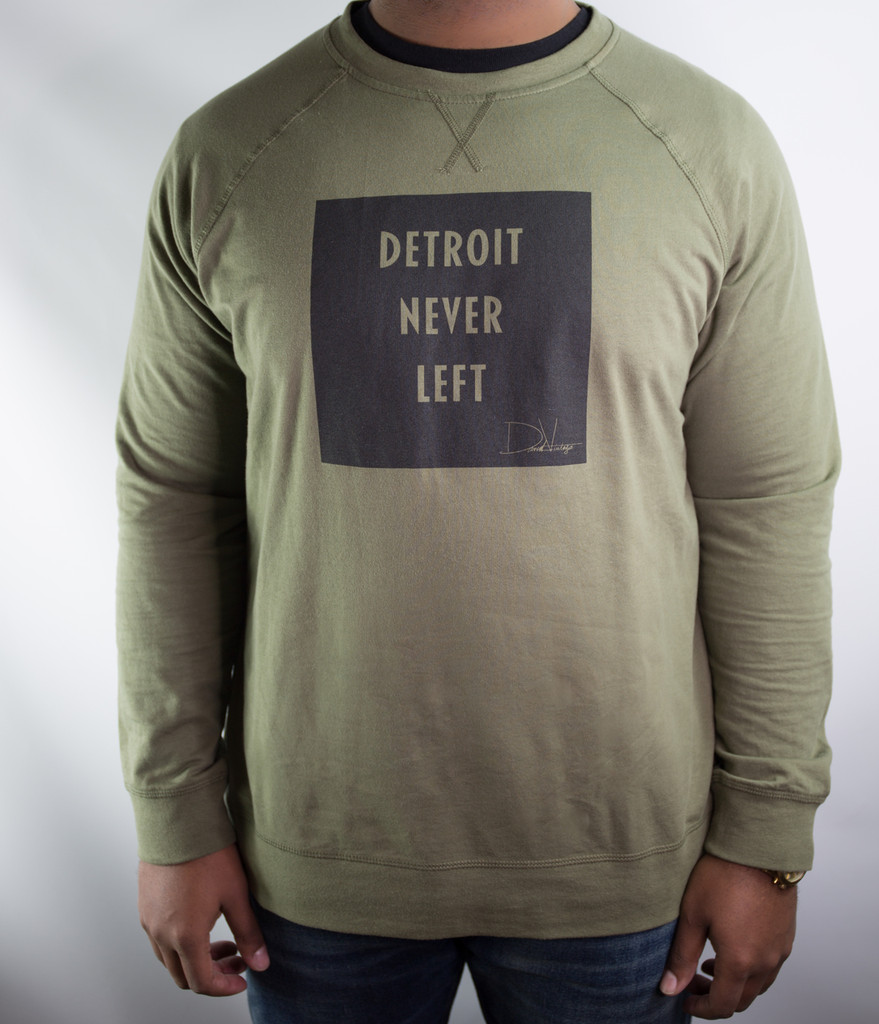 Detroit Never Left™ Unisex Crewneck – Military Green/Black