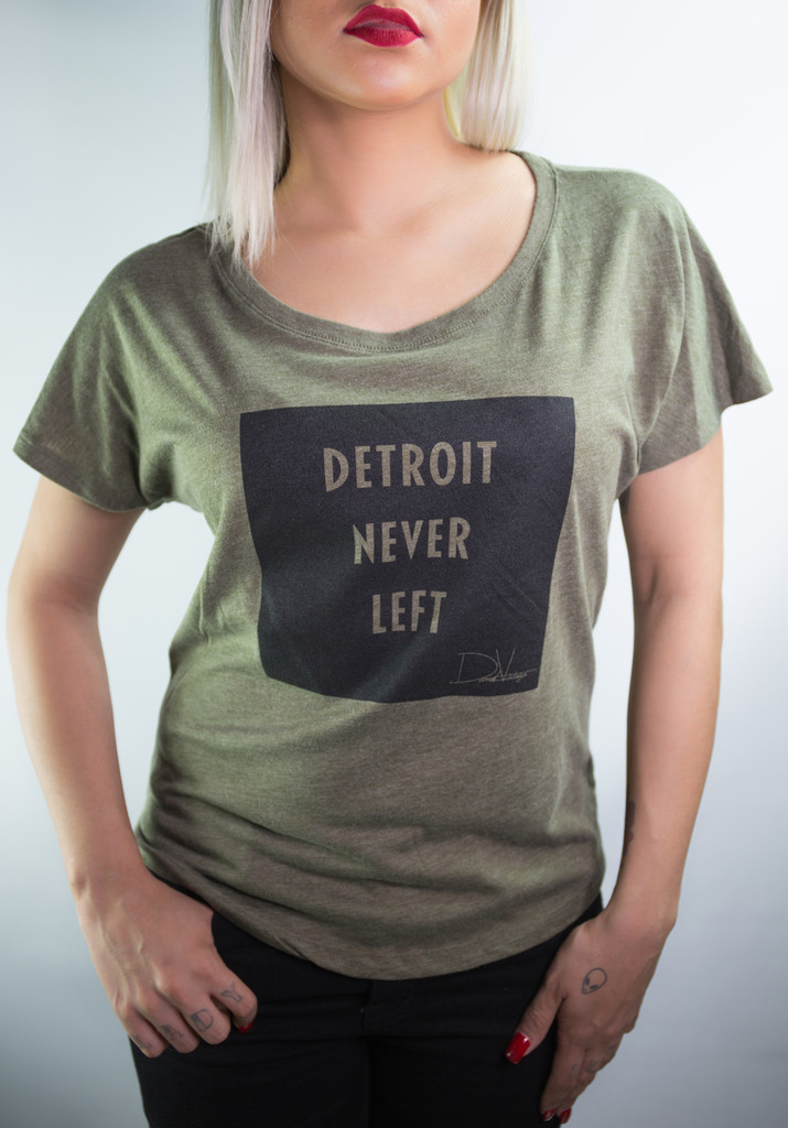 Detroit Never Left™Wmns Dolman Tee -  Military Green/White