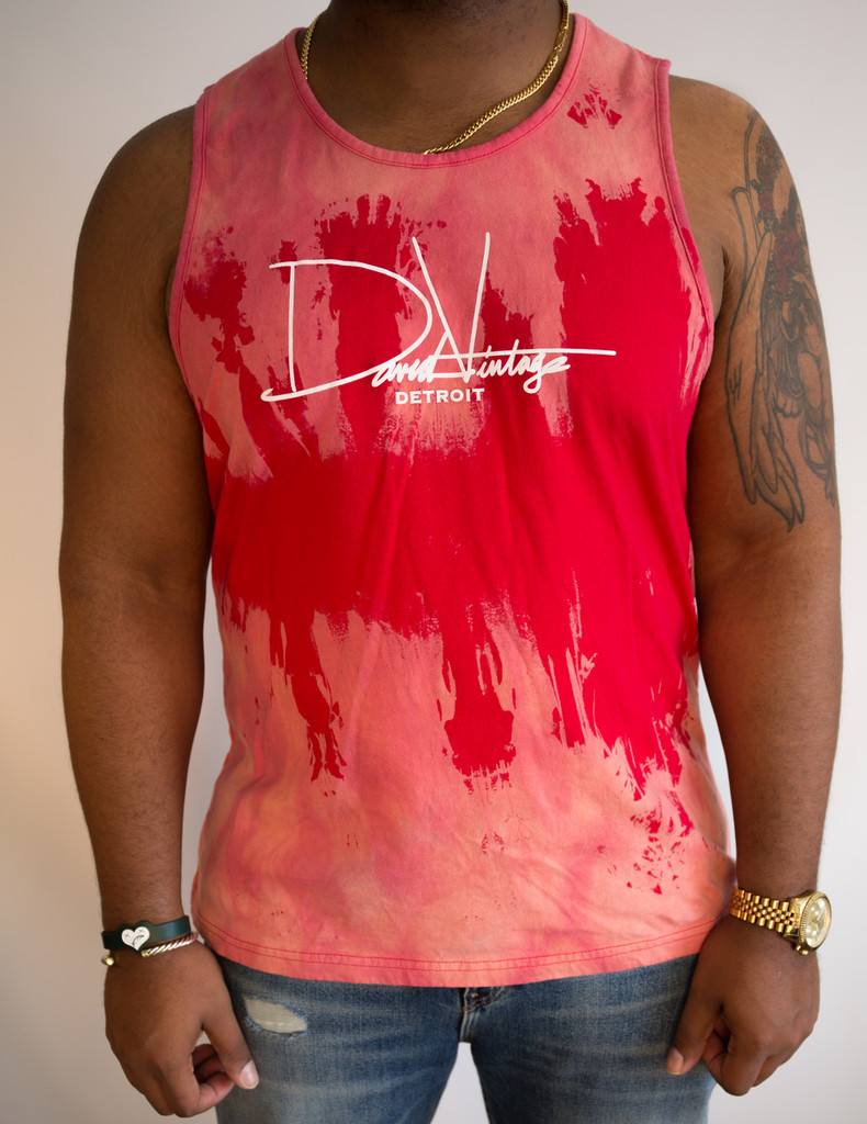 Signature Hand Stained Tank - Red/White