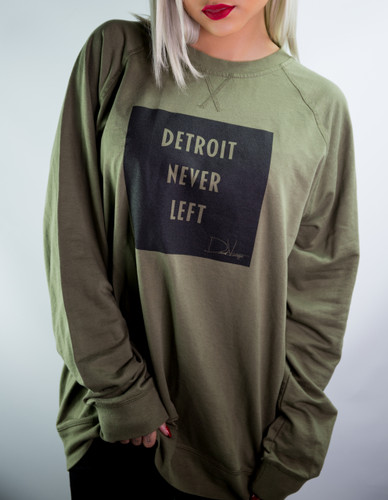 Detroit Never Left™ Unisex Crewneck – Military Green/Black