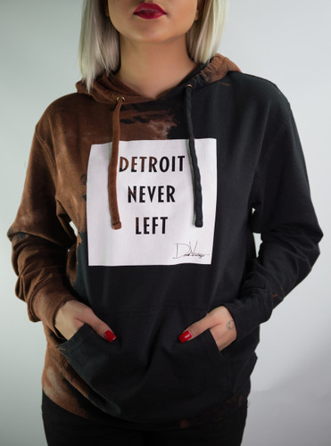 DETROIT NEVER LEFT™ HAND STAINED HOODIE – BLACK/WHITE
