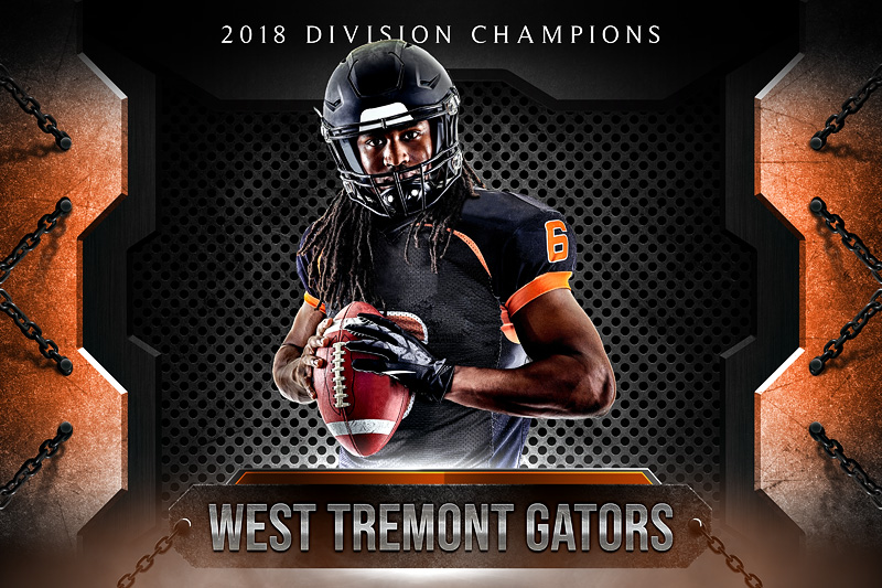 player and team banner sports photo template metal and chains