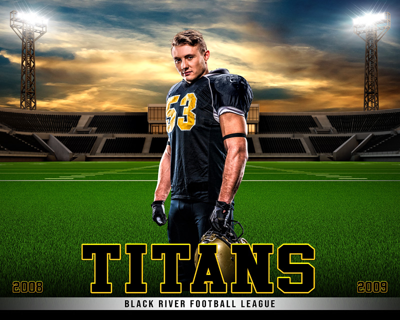 SPORTS POSTER TEMPLATE - HOME FIELD - FOOTBALL - PHOTOSHOP LAYERED SPORTS TEMPLATE