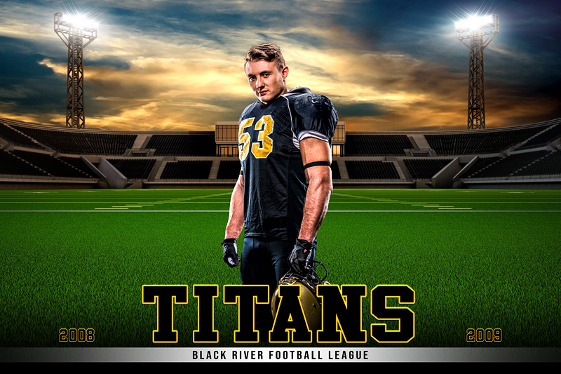 PLAYER & TEAM BANNER PHOTO TEMPLATE - HOME FIELD - FOOTBALL - PHOTOSHOP LAYERED SPORTS TEMPLATE
