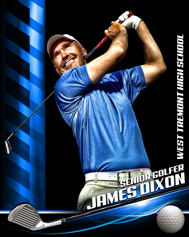 sports poster photo template for golf