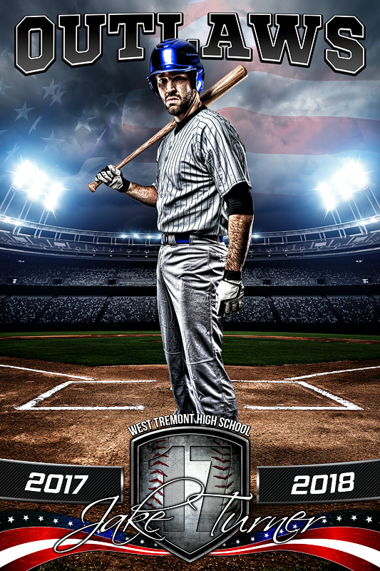 PLAYER BANNER PHOTO TEMPLATE - AMERICAN BASEBALL - PHOTOSHOP SPORTS TEMPLATE