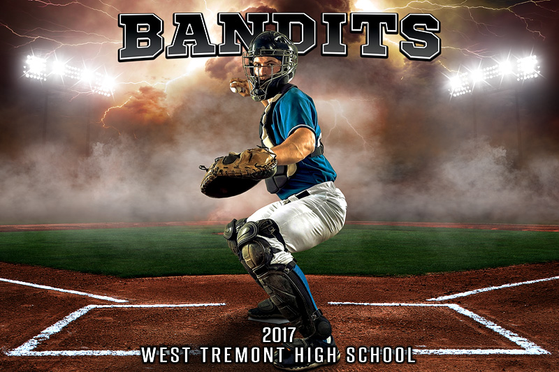 PLAYER AND TEAM BANNER PHOTO TEMPLATE - UP IN SMOKE - BASEBALL - LAYERED PHOTOSHOP SPORTS TEMPLATE