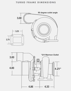 BorgWarner S363SX3 63/68 .88 A/R T4 Turbocharger w/ 90-Degree Outlet 177283