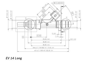 DeatschWerks 50 lb/hr EV14L USCAR Fuel Injectors 18U-01-0050-8